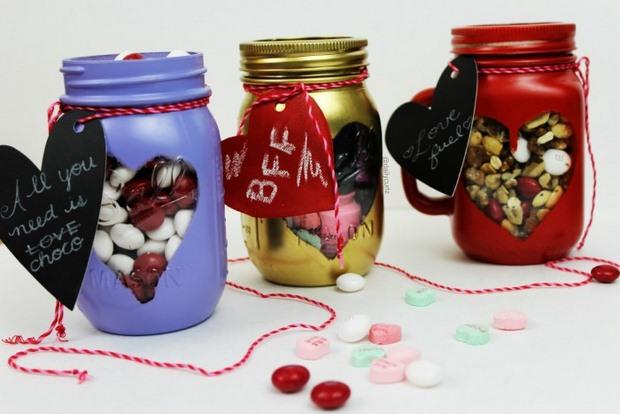 dulces del día de la artesanía de regalo de rociado de dulces de San Valentín pintada tarros de albañil etiqueta de regalo