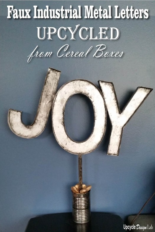 How to make faux industrial metal letters from cereal and cracker boxes