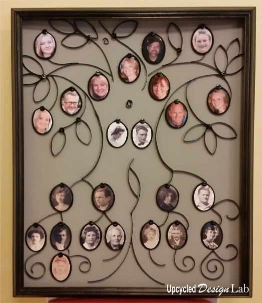 Finished upcycled toliet paper and cardboard family tree