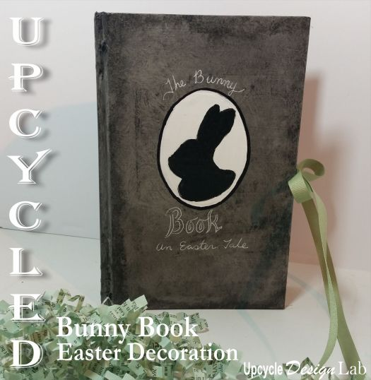 Upcycled book cover Easter decoration