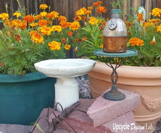 Mini Cement Bird Bath