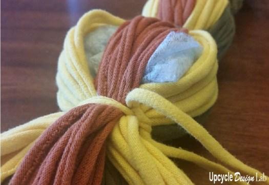Making a T-shirt yarn snake