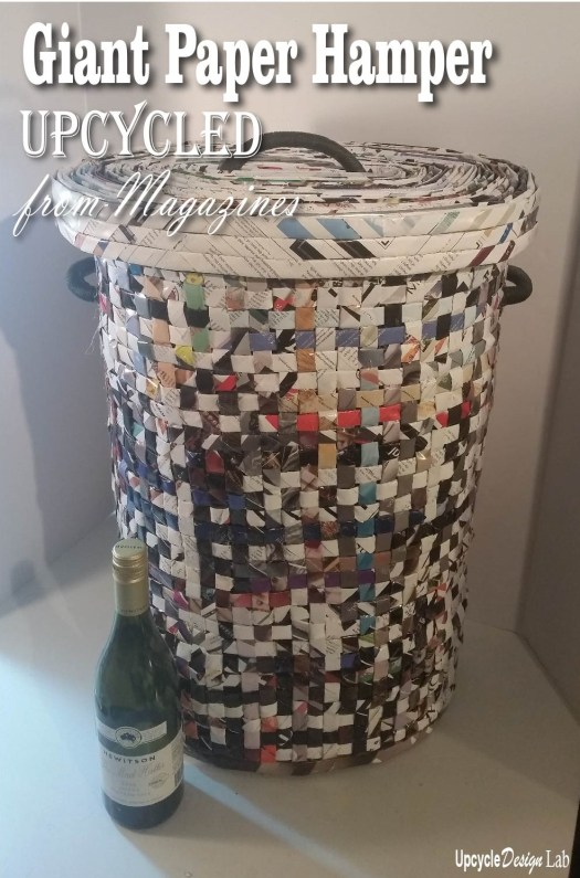 Completed woven paper hamper with lid