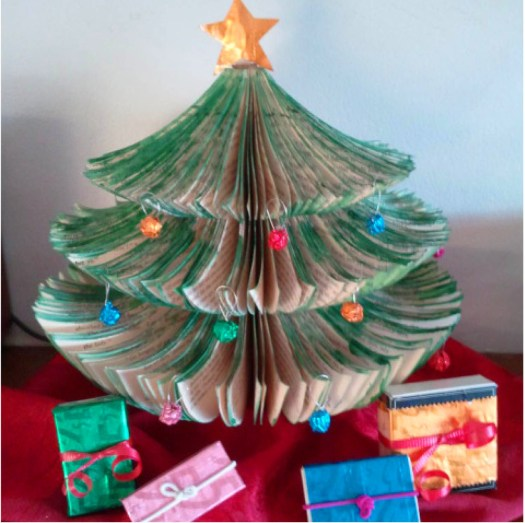 Mini Christmas Tree made from o;d book