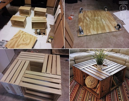 crate coffee table - Crate Coffee Table Upcycle That