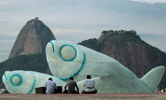 plastic bottle fish sculptures