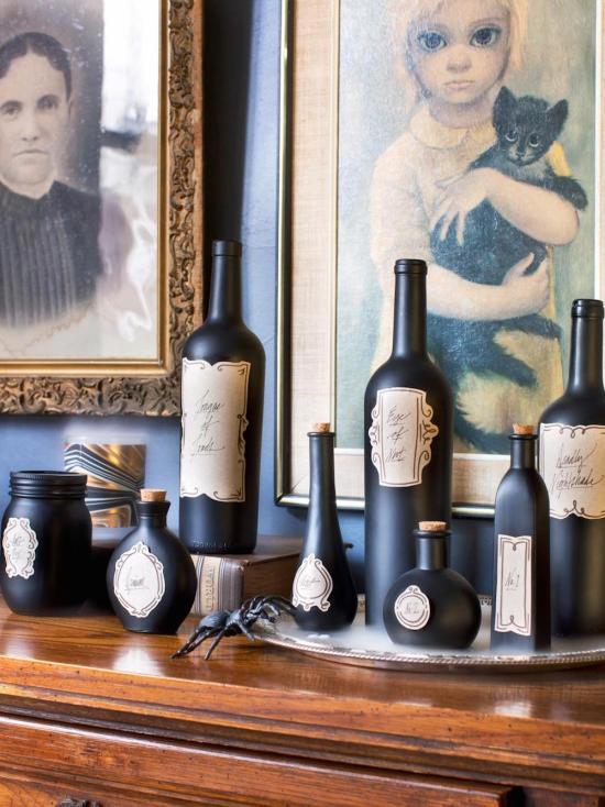 Halloween decor - poison bottles