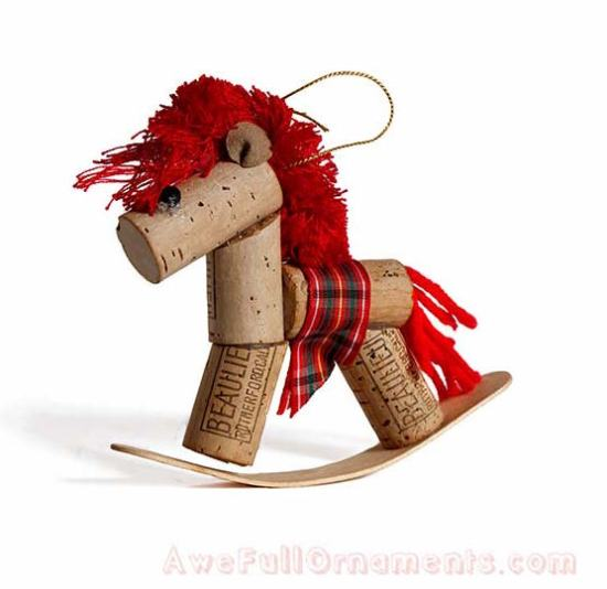 Cork ornament - rocking horse