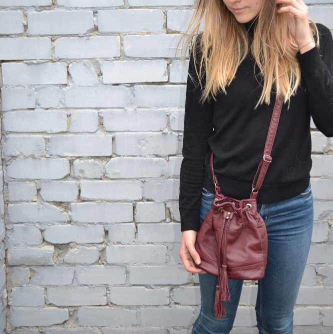 Upcycled Leather Bucket Bag – Bordeaux