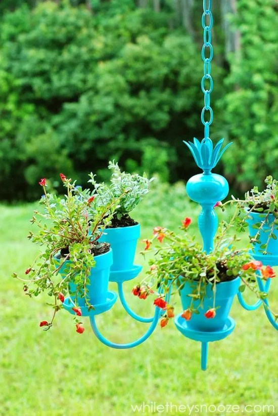 Upcycled garden ideas - chandelier planter