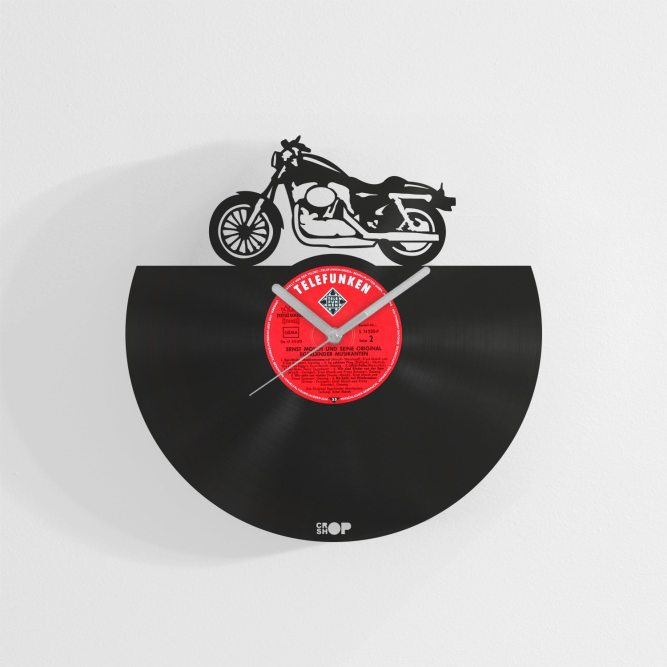 Motorcycle wall clock from vinyl record (LP)