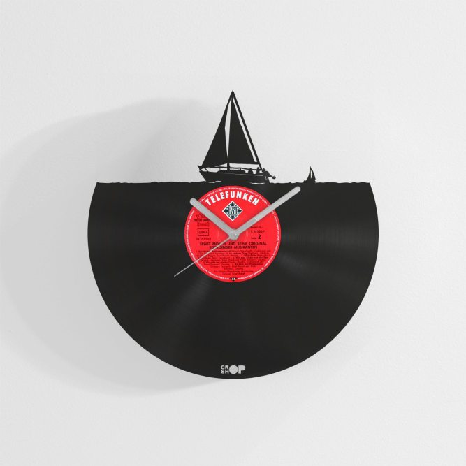 Yacht wall clock from upcycled vinyl record (LP)