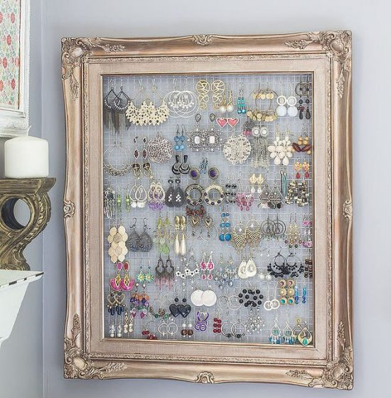 Dorm Room Decor - framed jewelry organizer