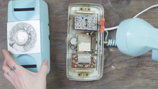 Phone lamp - close up on base of phone