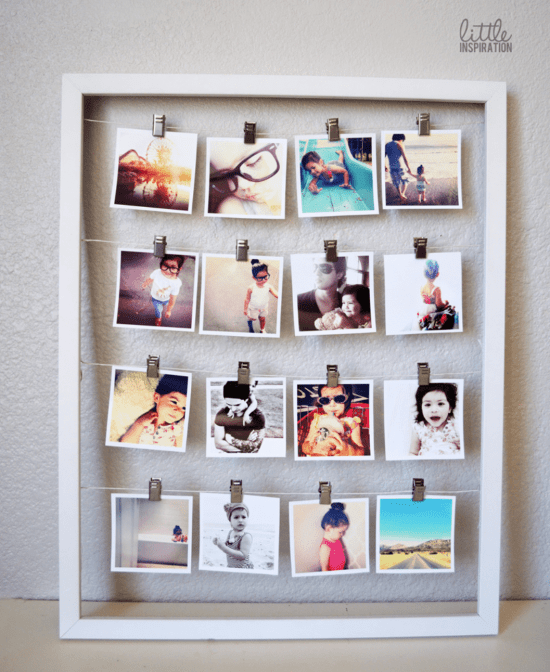 Repurpose Old Picture Frames - Instagram Photo Display