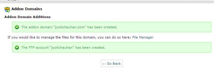 addon domains creation