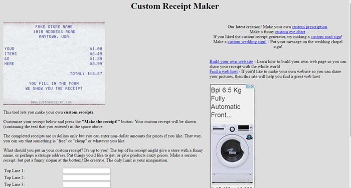 Custom Receipt Maker