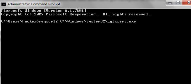 regsvr32 C Windows system 32 igfxpers.exe