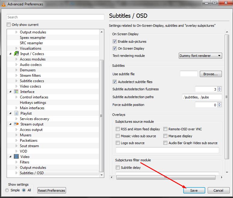 save subtitles OSD setting
