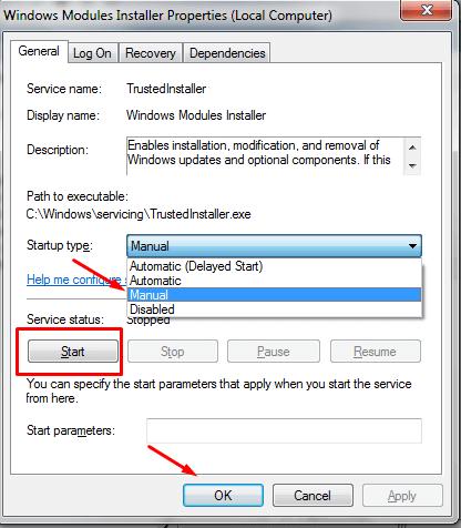 Windows Module Installer Properties