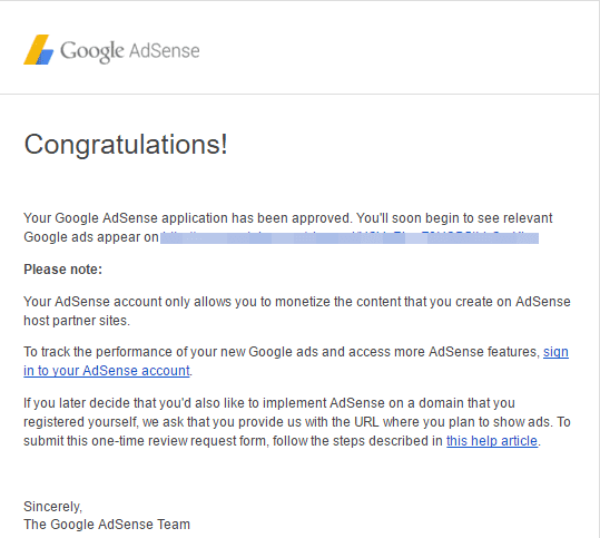 approval email from Google