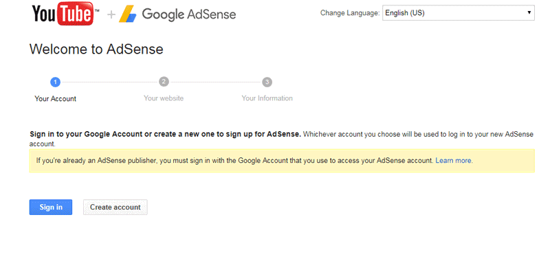 link your existing AdSense account with your Youtube channel