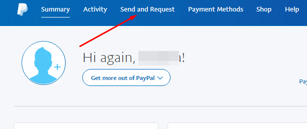 send and request option