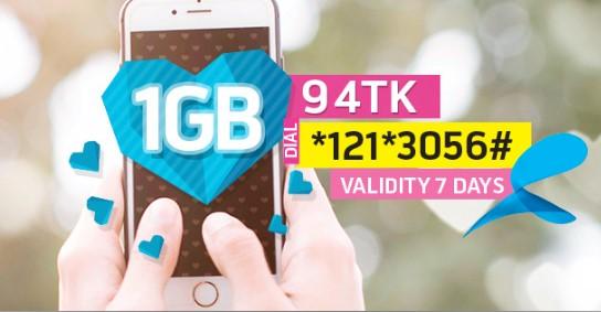 GP 1GB Internet 94Tk Offer