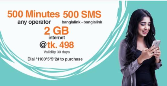 Banglalink 500Minutes, 2GB Internet & 500SMS 498Tk Offer