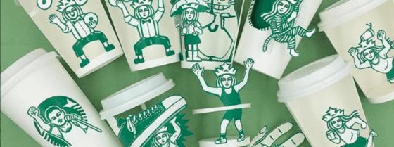 A arte em copos de Starbucks de Soo Min Kim