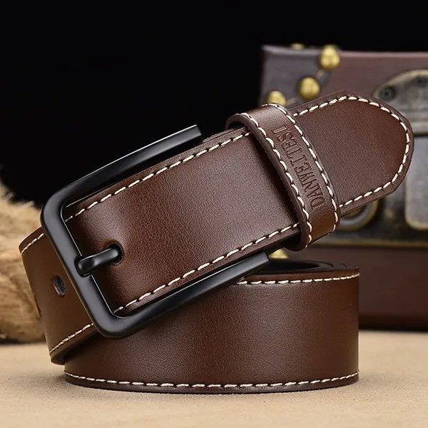 Men's Genuine Leather Belt with Luxury Pin Buckle 12