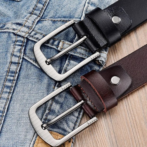 Men's Genuine Leather Fashion Belt with Pin Buckle 5