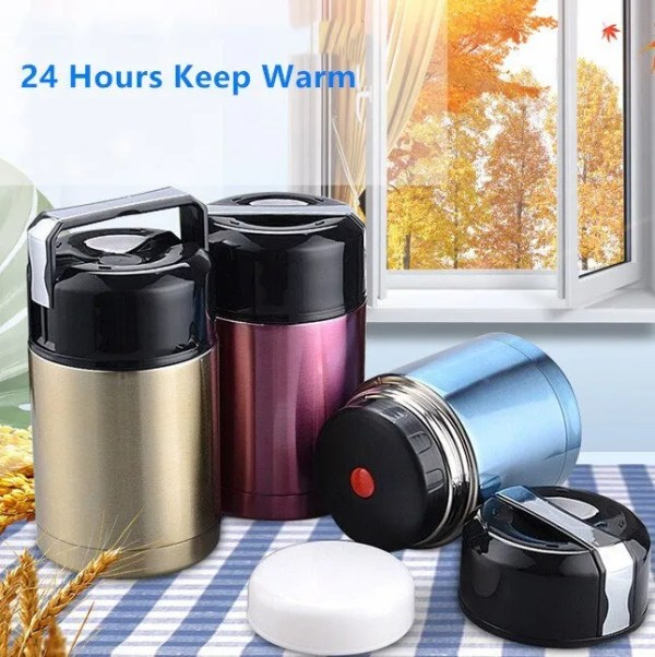 Large Capacity 600ML/800ML/1000ML Thermos Lunch Boxes Portable Stainless Steel 3