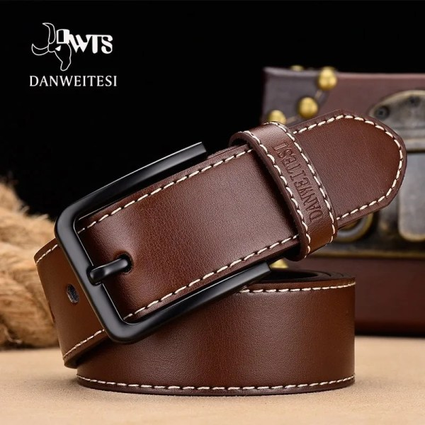 Men's Genuine Leather Belt with Luxury Pin Buckle 13