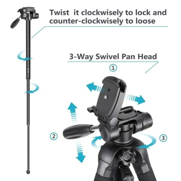 Portable 70 inches/177 cm Aluminum Alloy Camera Tripod 6