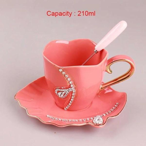 YEFINE Diamonds Design Coffee Mug Creative Gift Lovers Tea Cups 3D Ceramic Mugs With Rhinestones Decoration Cups And Saucers