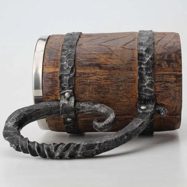 Wooden barrel Stainless Steel Resin 3D Beer Mug Goblet Game Tankard Coffee Cup Wine Glass Mugs 650ml BEST GOT Gift