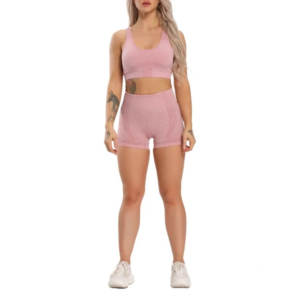 Hot Sell Women Seamless Yoga Set Gym Clothing Fitness Shorts+Breathable Bra Sport Suit Women Sleeveless Tracksuit Active Wear