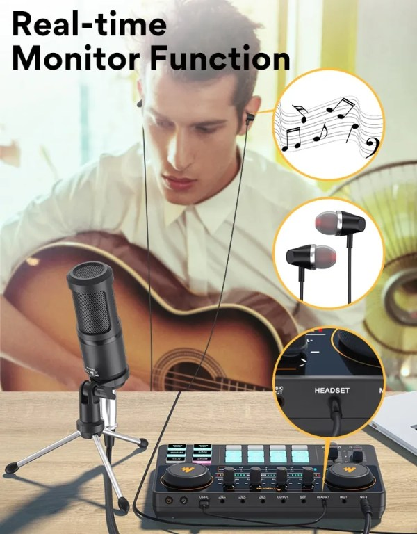 MAONO CASTER LITE AM200-S1 All-in-on Microphone Mixer Kit Sound Card Audio Interface With Condenser Mic&Earphone for Phone PC