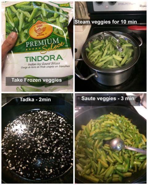 Frozen tindora curry