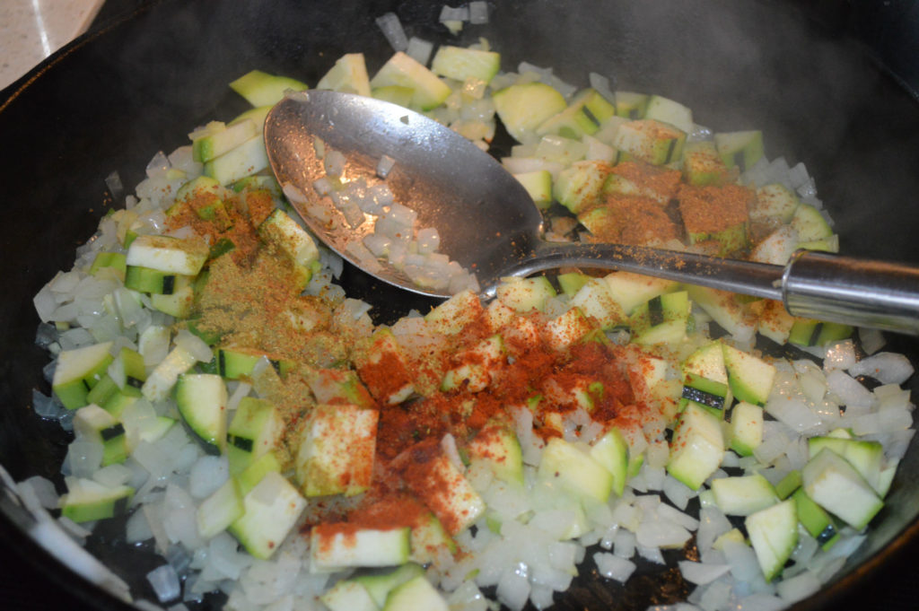 Banza pasta - cook onion spices