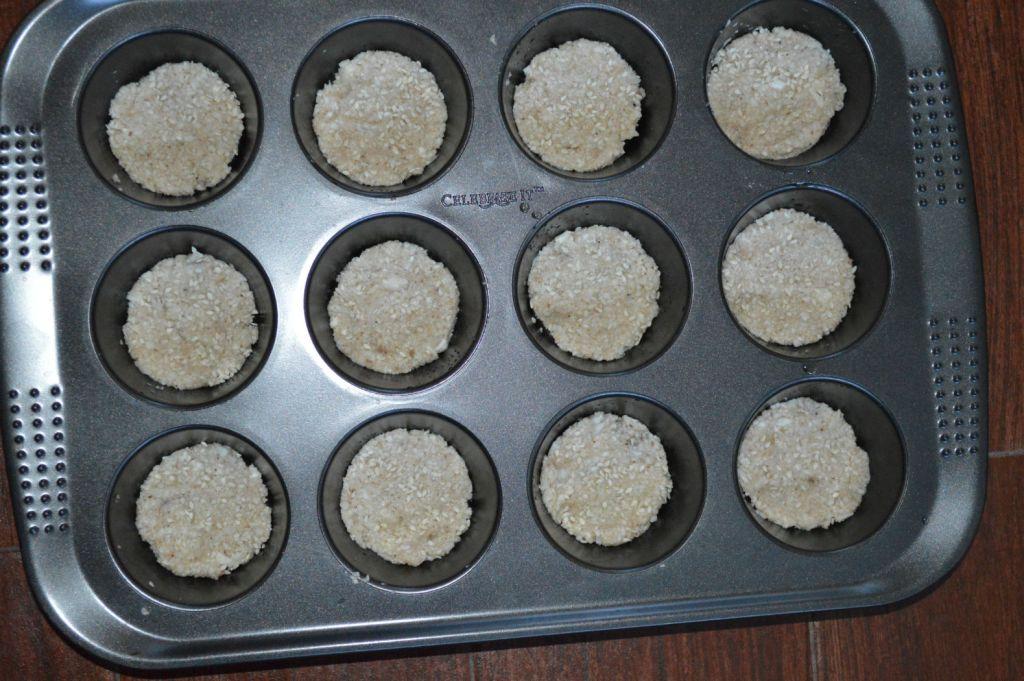 Cauliflower bread in oven