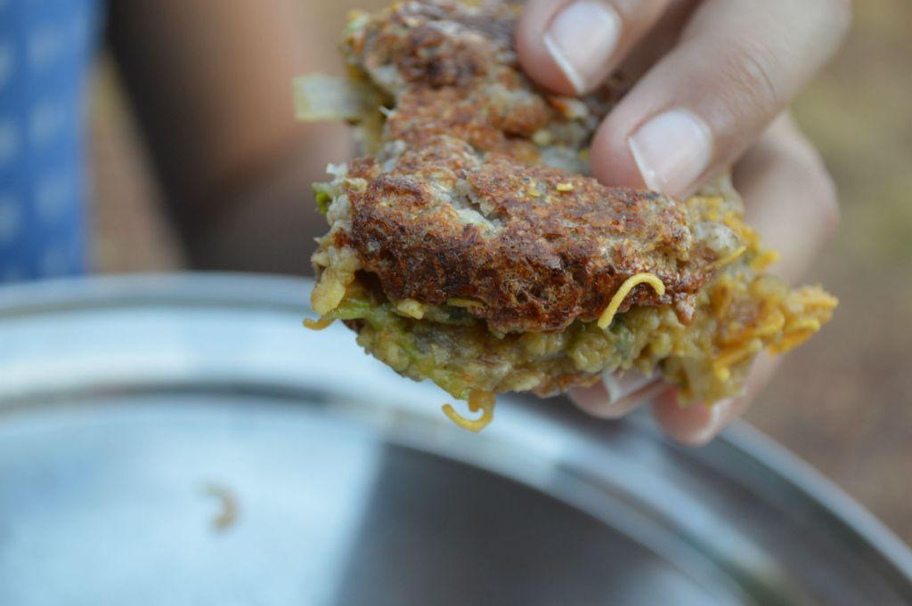 Dabeli chaat eating