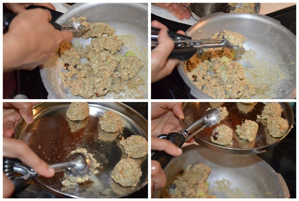 Kozhukattai using cookie scoop