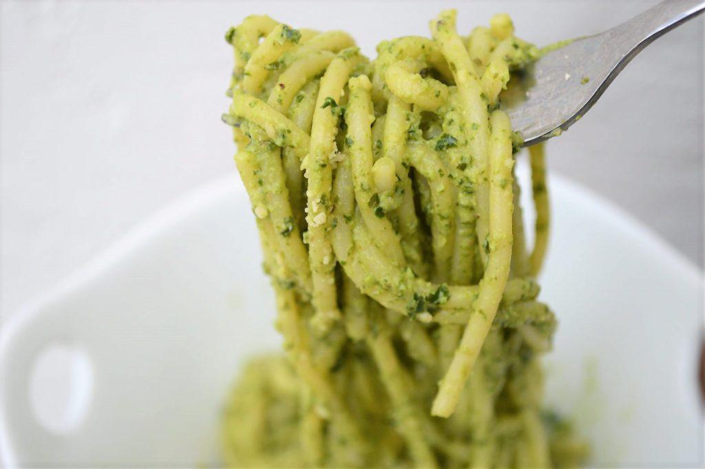 Kale Pesto pasta ready