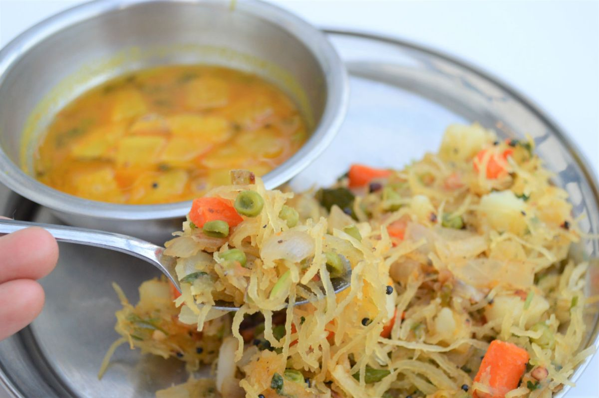 Semiya Upma - Low Carb using spaghetti squash
