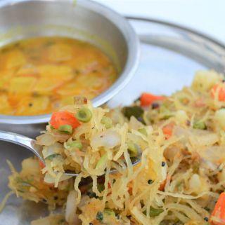 Semiya Upma – Low Carb using spaghetti squash
