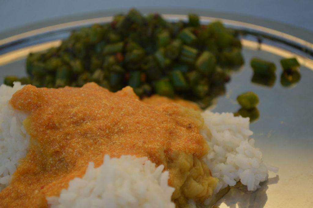 Mathanga pachadi with hot rice