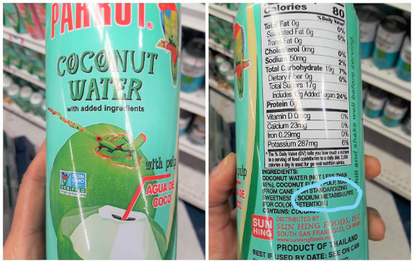 coconut water with preservatives