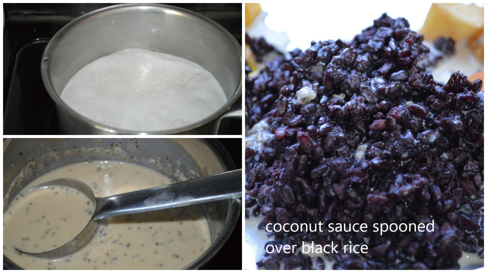 black rice breakfast with coconut sauce